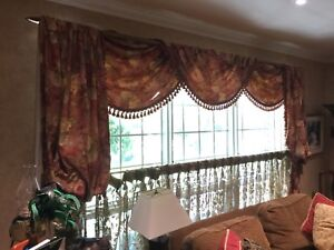 Two Drape panels , valance and coffee curtain