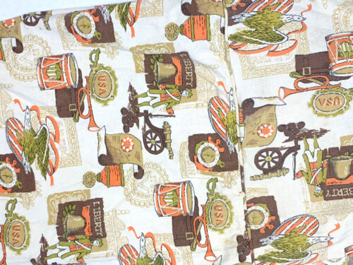 Set 2 Vintage 1970s Liberty United States Settlers Tablecloth Orange Brown USA