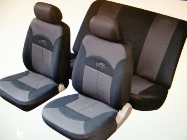 TOYOTA STARLET CAMRY COROLLA Car Seat Covers Full Set Black/Grey Washable 14002