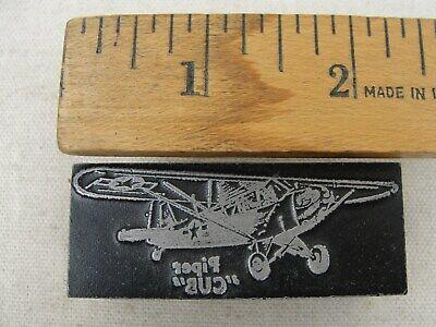 Vintage Printing Letterpress Printers Block Piper Cub Plane Steel Wood