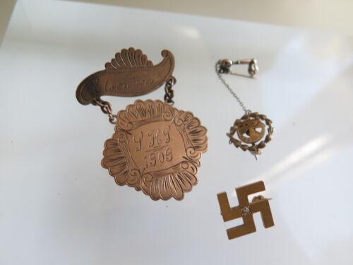 Antique Vintage 14k Gold 1909 Pins Fraternal Diamond Gammadion Cross (#190)
