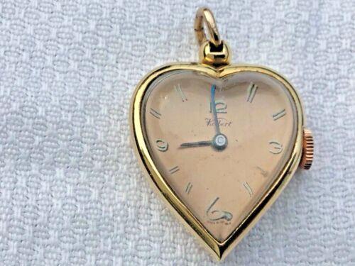 YELLOW GOLD FILLED KELBERT HEART SHAPED LADIES PENDANT WATCH 1940s