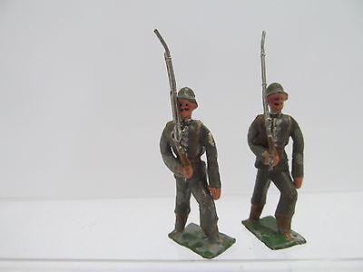 MES-47482Original uralte 2 St. Zinn Soldaten um 1910,H: ca.5cm mit Farbschäden,