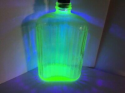 Vintage Uranium Glass Jug Bottle No Lid