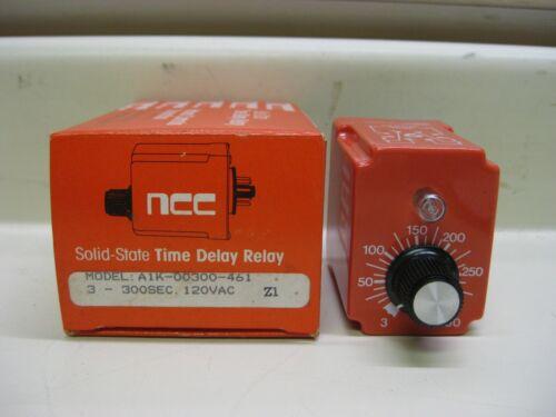 New NCC Ametek A1K-00300-461 3-300 Sec 120V Solid State Timer Time Delay Relay