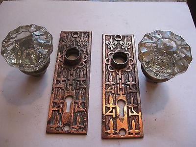 victorian GLASS door knob BRASS FACE PLATES
