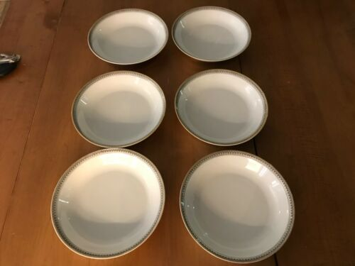 "Set of 6 Heinrich & Co. H&C Selb Coupe Bowl Gold Trim Black Greek Key 7 1/2"""