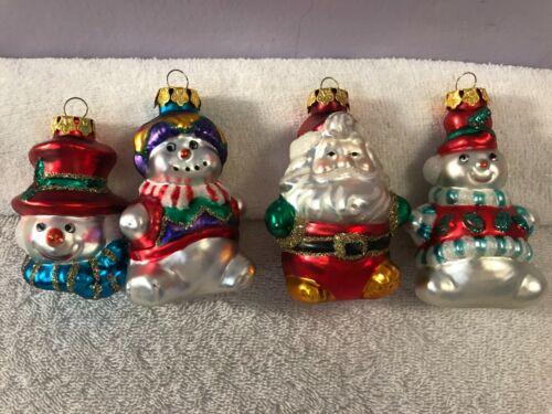Christmas ornaments set of 4 glass santa & snowmen figures CH5544