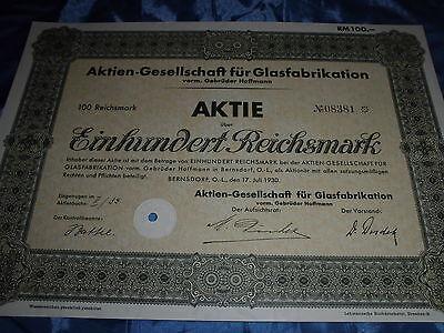 821 :  deutsche Aktie / Wertpapier , 17. Juli 1930 , Glas Fabrikation , Berlin