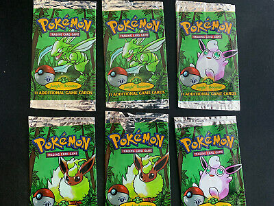 Pokemon Jungle Set 1st Ed Booster Pack Set of 6 Wrappers *All Artwork* *Rare*