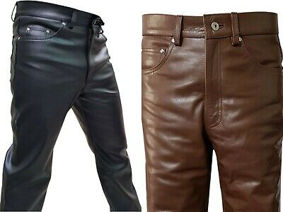 Mens Black Brown 501 Pure Leather Pants Motorcycle Best Sellers Casual Wear