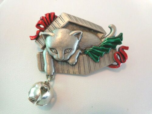 Vintage Pewter and Enamel Cat in a Christmas Box and Bell Brooch by J.J.