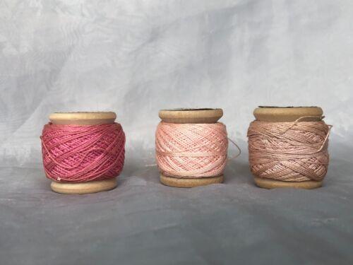 Antique Cotton Crochet Thread Lot VINTAGE Wooden Thread Spools American Clarks