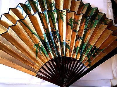 """Set of 2 Japanese Large Wall Folding Fans Bamboo Paper Painted 18"""" Tall"""