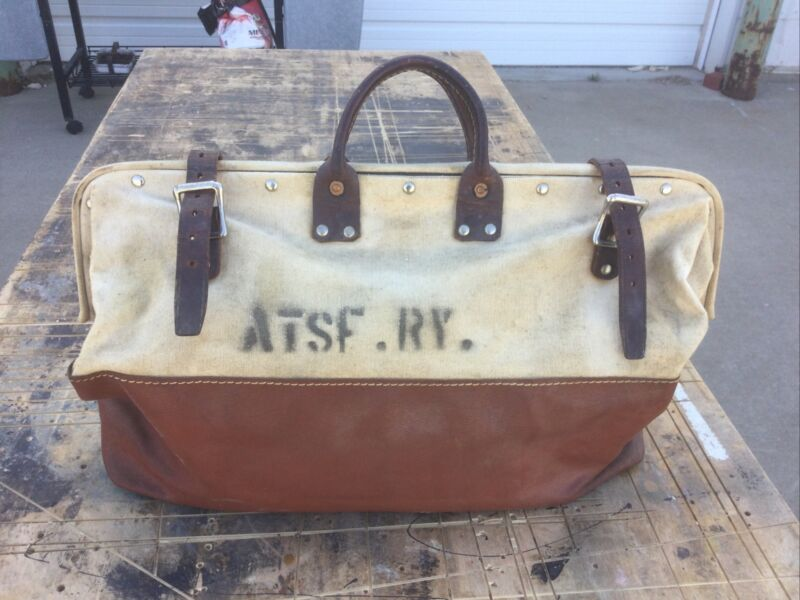 Antique A.T. & SF RY Atchison, Santa Fe Railway Mail Bag R. H. Buhrke Co. NICE!