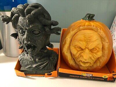 ANIMATED JACK-O-LANTERN Talking Pumpkin Halloween Prop Medusa Snakes new