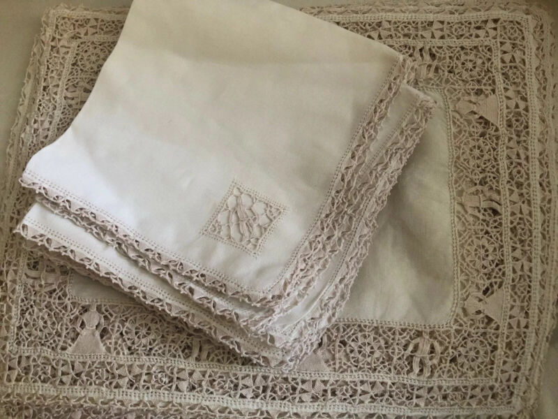Antique Italian 9 Napkins 9 Placemats Handmade Figural Needle Lace Husband Wife