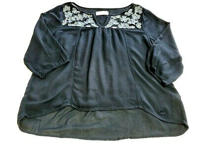 Abercrombie & Fitch Women sz L Large Floral Embroidered Peasant Blouse Blue E-18