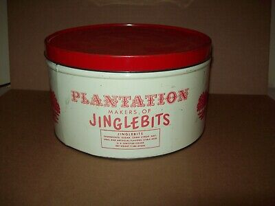vintage Plantation Jingle Bits candy Tin in excellent shape circa 1940's pre zip