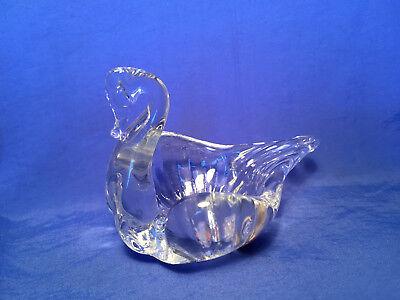 Glass Italian Ring (Vintage Italian Glass Art Clear SWAN Bird Ring Holder Figurine Original Stickers )