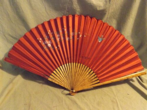 """Antique Asian Silk & Bamboo 13.5"""" Hand Painted Bird Floral Fan Small Losses"""