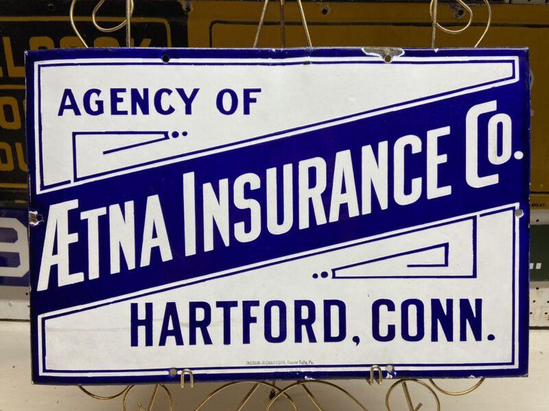 Aetna Insurance Porcelain Sign c.1890's