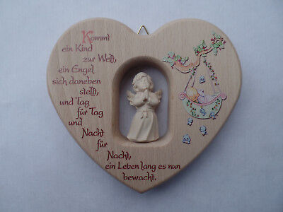 Christening Gift for Birth Baptism One Child Children's Heart Wood M.Wooden