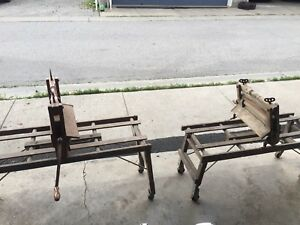 Antique (1923) Wooden Washing Machine Rollers with Stands.