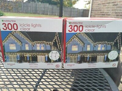 2 x Holiday Time 300ct Icicle Christmas Lights Clear 18ft each 1 white 1 green