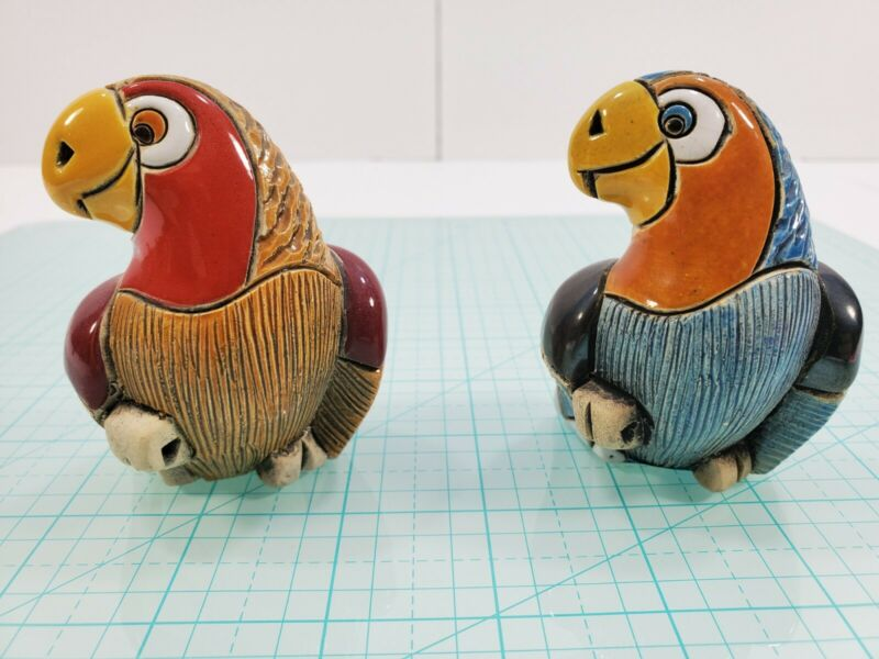 Artesania Rinconada Handmade Ceramic Blue #323 and Red #325 Parrot Figurines