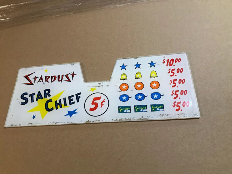 Stardust Hotel & Casino Slot Machine Header Glass Lucite Plastic Pay Out Card #1