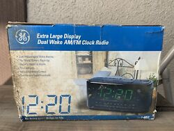 General Electric Large Display Dual Alarm Clock Radio w Buzzer GE 7-4852A Black