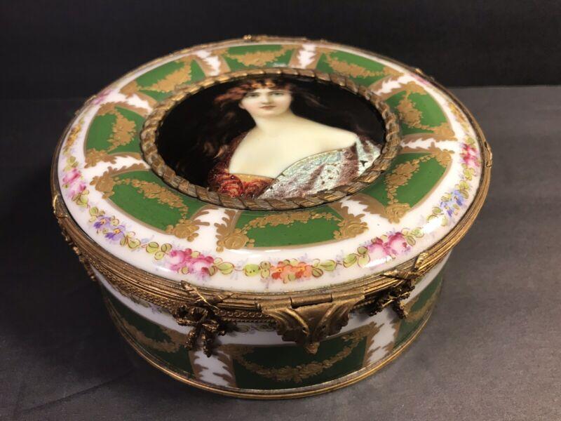 Antique Sevres Porcelain Box/ Enamel Miniature/ France C. 1910/ Bronze Mounted