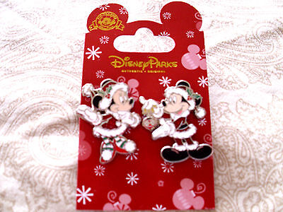 Disney * MICKEY & MINNIE in SPARKLE SANTA SUITS * 2 Pin Holiday Set
