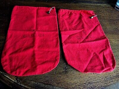 VTG Gucci Italy Red Shoe Bags Dust Covers Flannel Drawstring Gold Ball Lot of 2