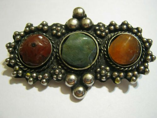 Vintage India Sajai Silver &  Brass Bead Brooch w/ Red, Green & Yellow Agates