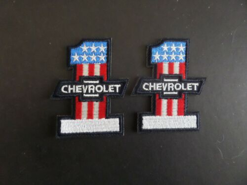 """LOT OF 2-""""CHEVROLET"""" AUTO #1 EMBROIDERED IRON ON PATCHES 2- X 2-1/2"""