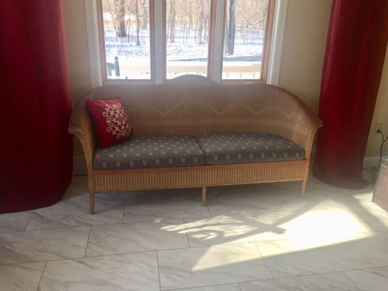 antique 1920's art deco vintage Lloyd's Loom wicker sofa original finish