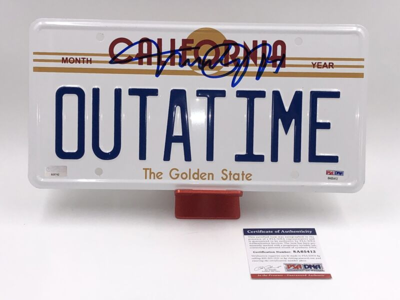 Michael J. Fox Signed OUTATIME License Plate Back to the Future Beckett COA BTTF