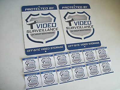 2 Video Surveillance Security System Yard Signs & 12 Window