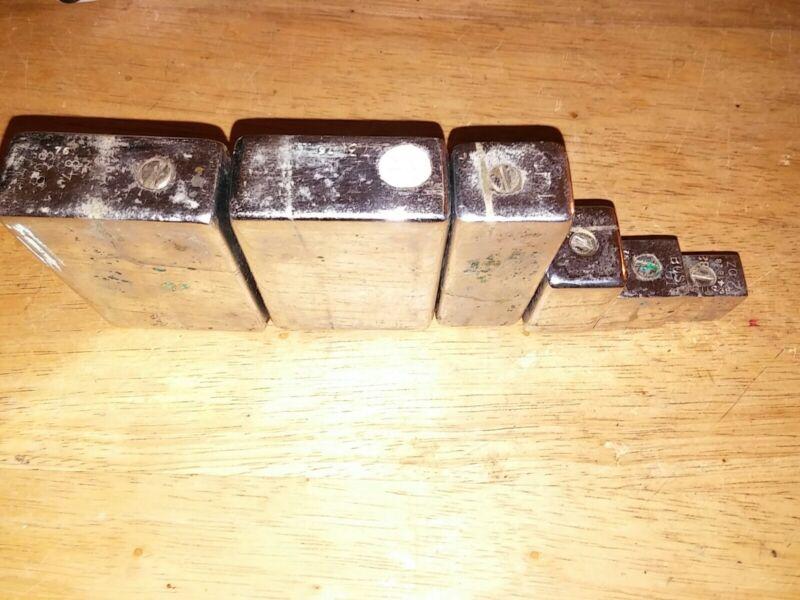 Vintage Square 6 pc. Calibration Weight Set, 3, 2, 1, pounds 8, 4, 2 Oz. Chrome