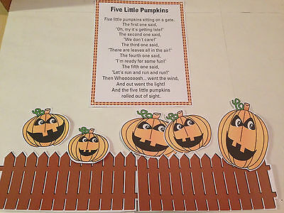 FIVE LITTLE PUMPKINS - FLANNEL / FELT BOARD STORY PIECES HALLOWEEN  - Halloween Flannel Board Stories