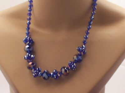 Stunning  Brilliant Royal Purple AB Coated Faceted Crystal Cluster Bead Necklace