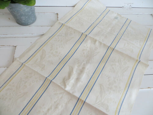 Damask Linen Towel Lilly of The Valley Pattern Unused German Table Runner Monogr