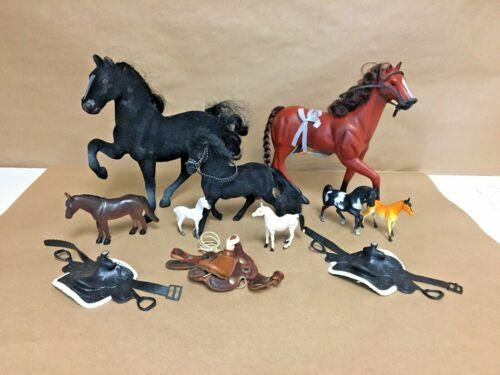 Mixed Model Horse & Saddle Mixed Toy Lot Brown Black Flocked Leather Mini Saddle