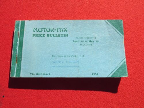 April 1934 Motor Fax Used Price Book Automobile vol 13 no. 4 336 pages