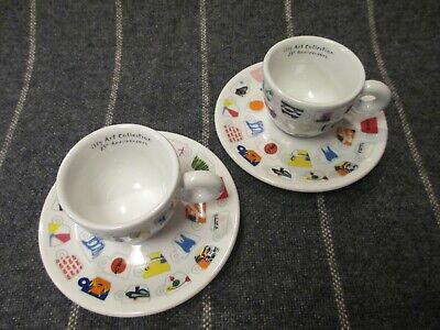 illy Art Collection 25th Anniversary Espresso Cups & Saucers IPA Limited Edition