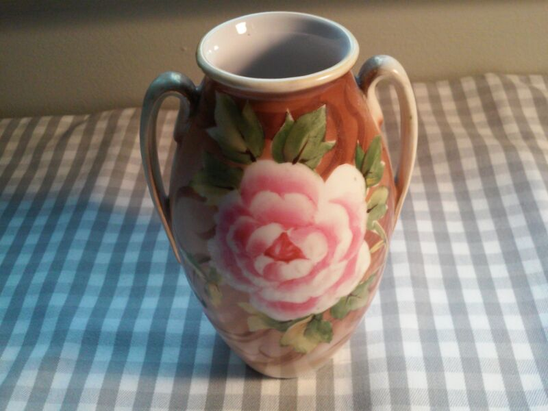 VINTAGE NIPPON CHINA~DOUBLE HANDLE~HAND PAINTED ROSE VASE~MARKED NIPPON