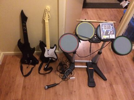 ROCK BAND PS3 - game with drums , guitars X 2 and microphone Sorrento Joondalup Area Preview