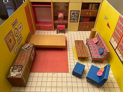 Vintage 1962 Cardboard MATTEL BARBIE'S DREAM HOUSE With Furniture & Accessories